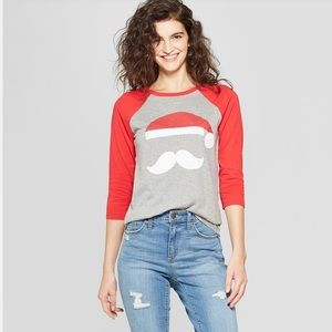 Women Santa Claus Mustache long sleeve t shirt